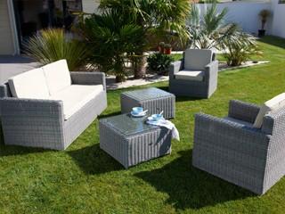 Salon de jardin luxe résine tressée ronde ELEGANCE 5 pièces coloris gris