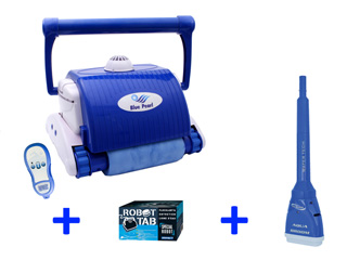Pack luxe robot piscine blue pearl aspirateur aquabroom for Robot piscine sur batterie
