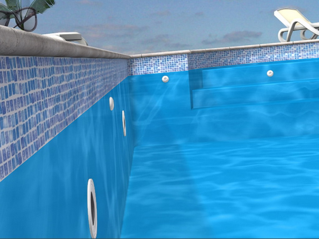 Liner piscine enterr e aqualiner 75 100 me type hung bleu for Liner piscine turquoise