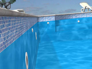 Liner piscine enterr e aqualiner 75 100 me type hung bleu for Frise liner piscine prix