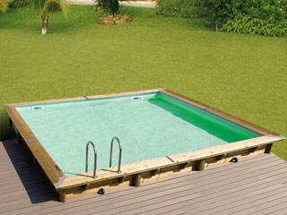 piscine bois liner beige