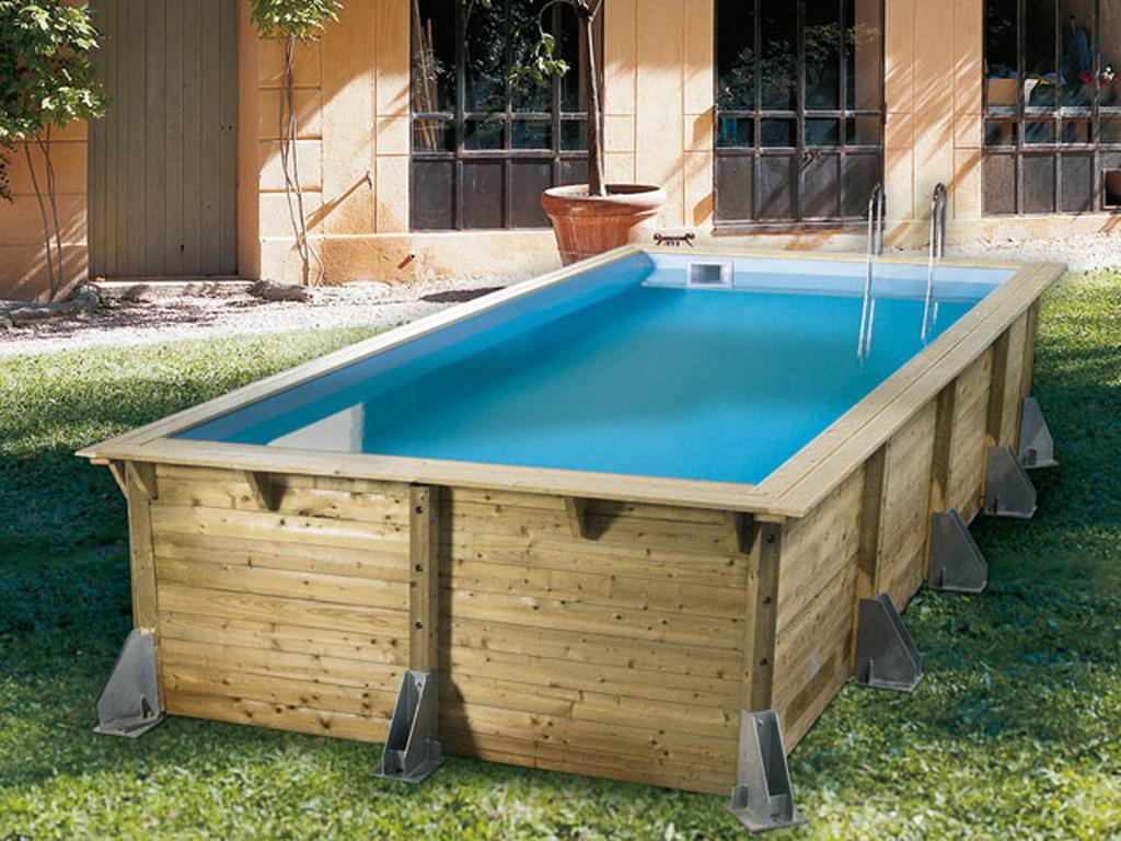 Kit piscine bois nortland ubbink azura rectangulaire 350x505x126cm liner bleu sur - Piscine creusee en kit ...