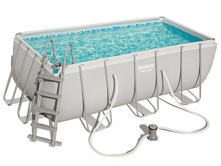 Bestway - Kit piscine tubulaire Bestway POWER STEEL FRAME POOL rectangulaire 412x201x122cm cartouche