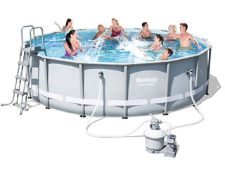 Kit piscine tubulaire Bestway POWER STEEL FRAME POOL ronde Ø488 x 122cm a sable