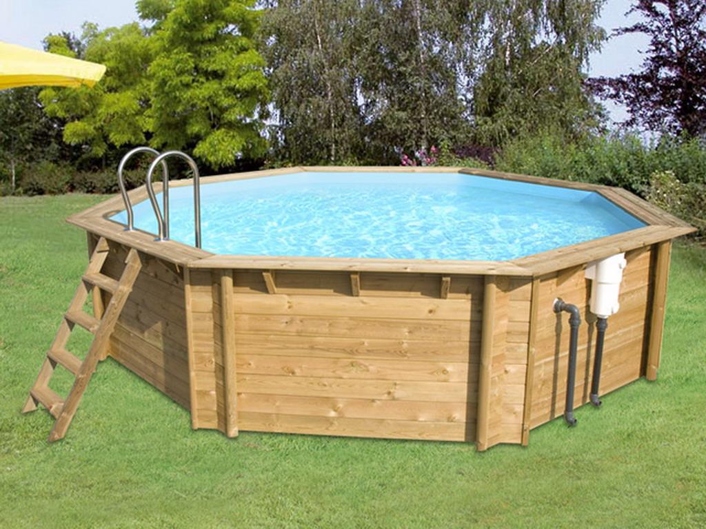 Kit piscine bois cerland weva octo440 octogonale x 1 - Liner piscine hors sol octogonale ...