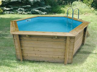 Kit piscine bois nortland ubbink azura hexagonale 410 x for Piscine nortland