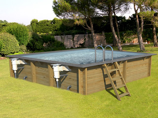 piscine hors sol bois proswell odyssea carre 5x5 h146cm margelles et liner gris sur. Black Bedroom Furniture Sets. Home Design Ideas