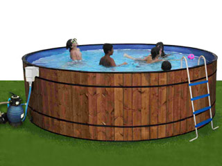 kit piscine hors sol acier toi barrica ronde x habillage bois sur march. Black Bedroom Furniture Sets. Home Design Ideas