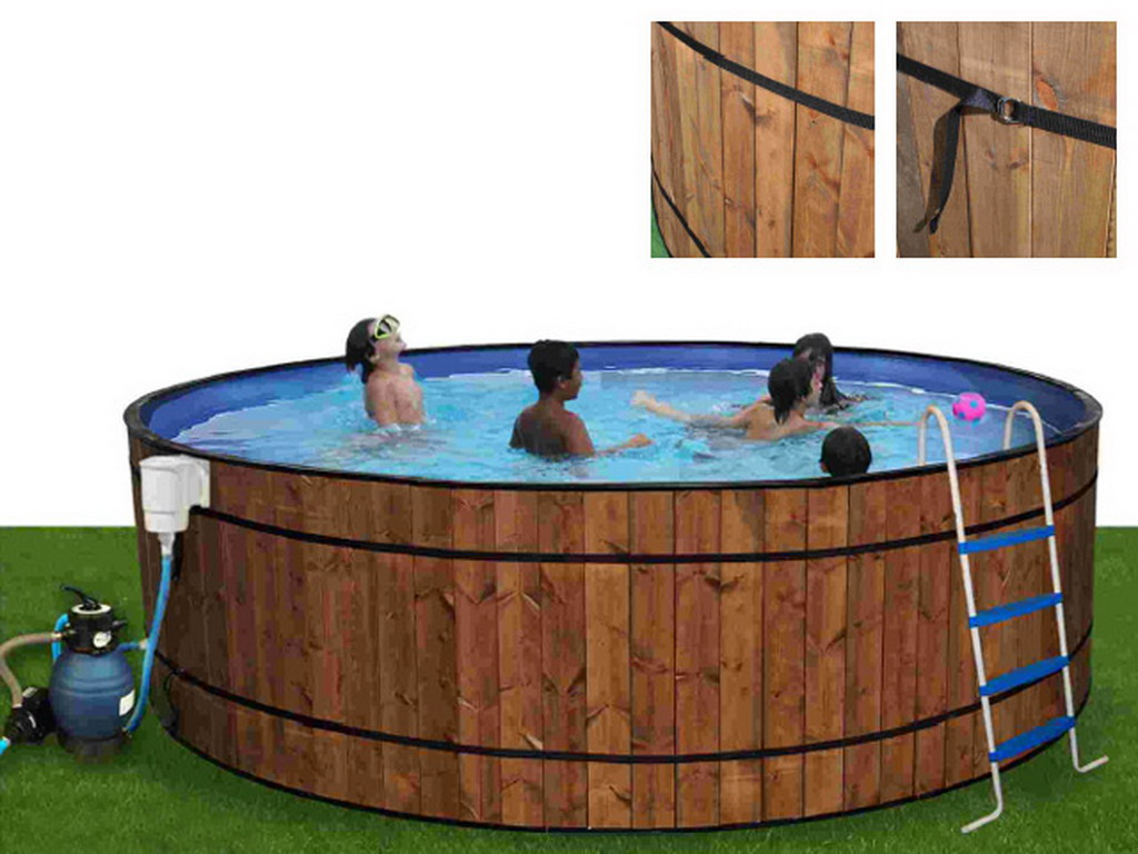 Kit piscine hors sol acier toi barrica luxe ronde x for Piscine hors sol bois ronde