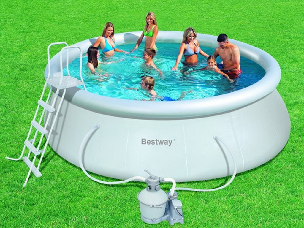 Kit piscine hors sol bestway fast set pool ronde 457 x for Aspirateur piscine hors sol jilong