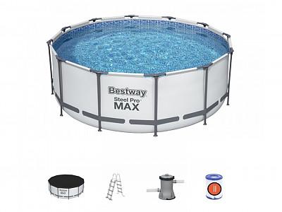 Kit piscine bestway steel pro frame pool ronde 366 x for Piscine bestway