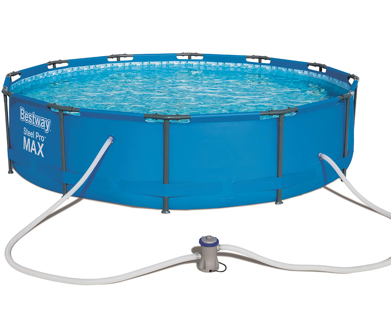 Kit piscine bestway steel pro max pool ronde 366 x 76cm filtration cartouche sur for Kit filtration piscine a debordement