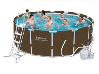 Kit piscine bestway steel pro frame pool ronde 427 x for Piscinas desmontables bricor