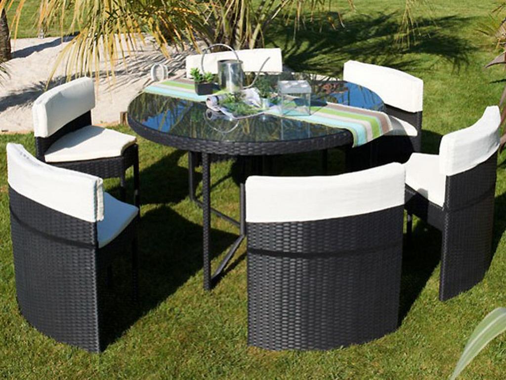Salon de jardin luxe résine tressée ROUND avec 6 chaises coloris ...