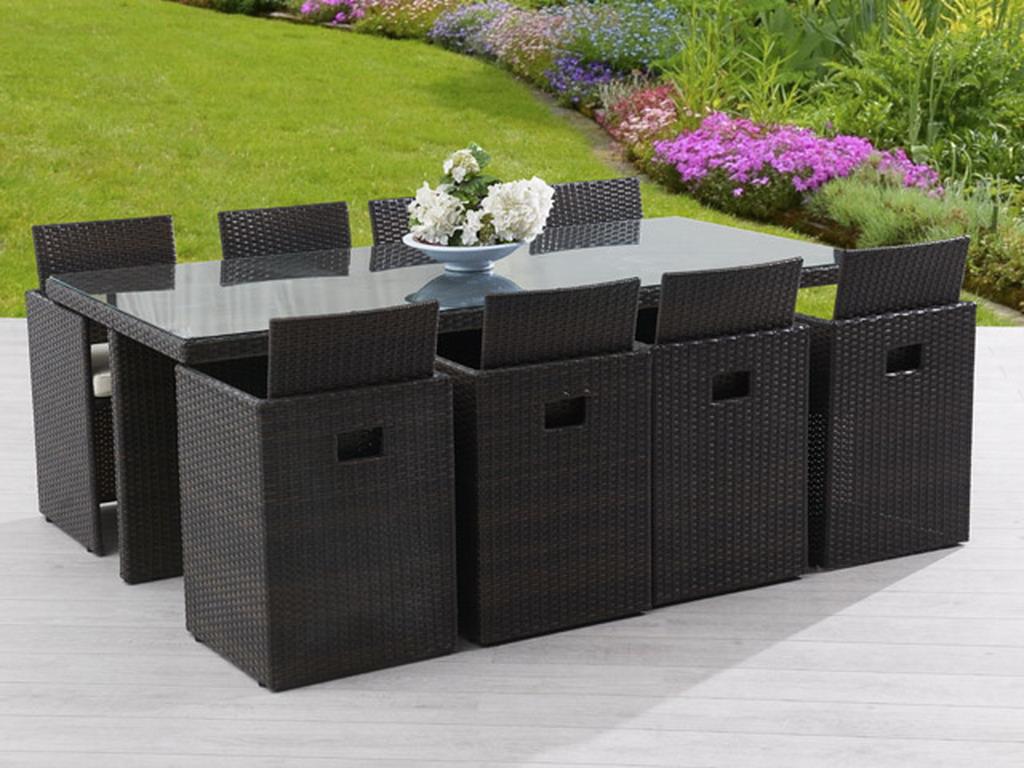 Salon de jardin en résine tressée avec table et 8 fauteuils dossiers  rabattables chocolat