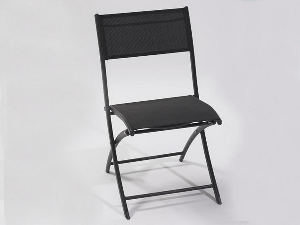 Chaise pliante de jardin en aluminium et textilène coloris noir