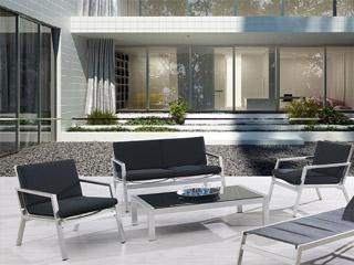 Salon de jardin aluminium et textilène MANHATTAN canapé + 2 ...