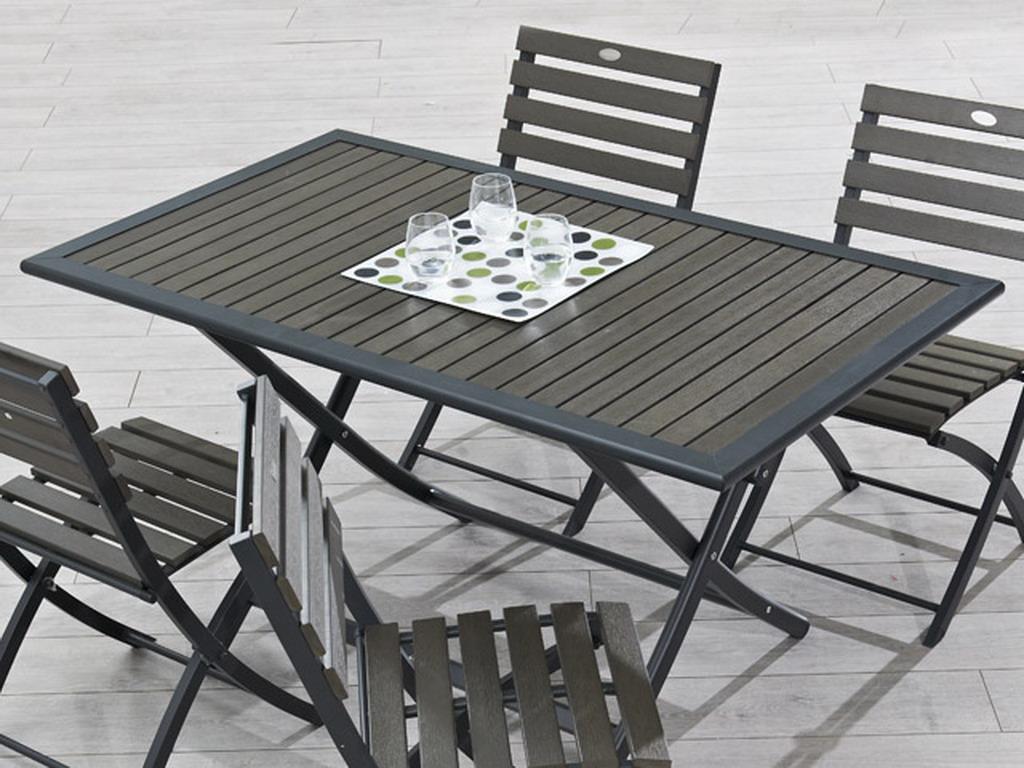 Table pliante de jardin aluminium gris et bois composite lames ...