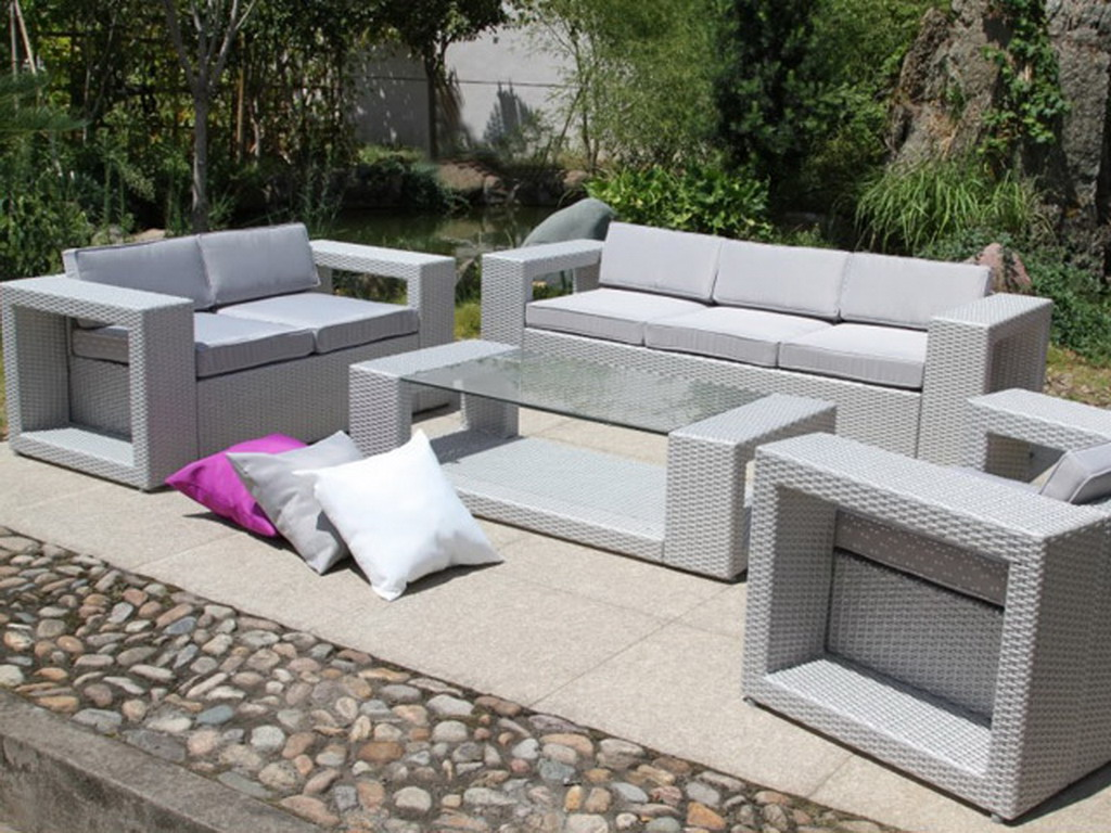 salon de jardin r sine tress e canap banquette fauteuil table basse gris sid ral et. Black Bedroom Furniture Sets. Home Design Ideas