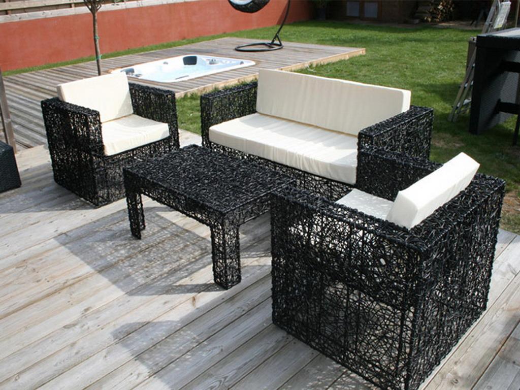 Salon de jardin résine spirale NIDOISEAU avec banquette + 2 fauteuils +  table basse coloris noir