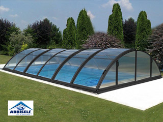 Abri piscine mobile Abriself PREMIUM 5 modules 540 x 1073 x 145cm gris anthracite