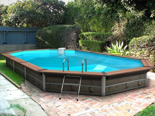 Kit Piscine Bois Water Clip SUMMUM Octogonale Allongee 7,30m X 4,20m X