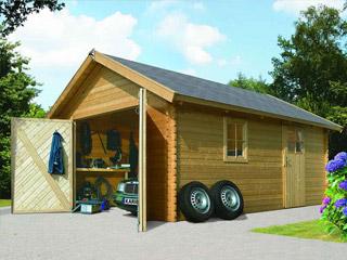 garage de jardin karibu garage 40 coloris bois naturel dimensions 387 x 537 x 268cm sur. Black Bedroom Furniture Sets. Home Design Ideas