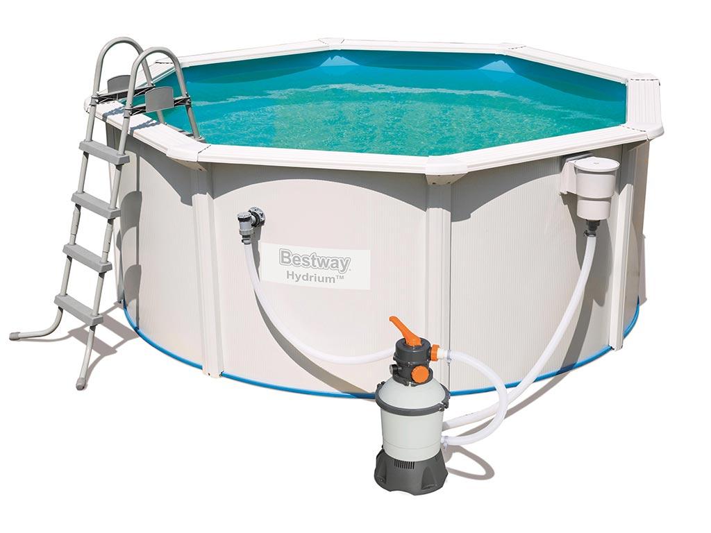 Kit piscine bestway hydrium ronde 305 x 122cm filtration sable sur march for Kit filtration piscine a debordement