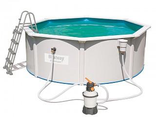 Kit piscine bestway hydrium ronde 366 x 122cm filtration sable sur march for Kit filtration piscine a debordement