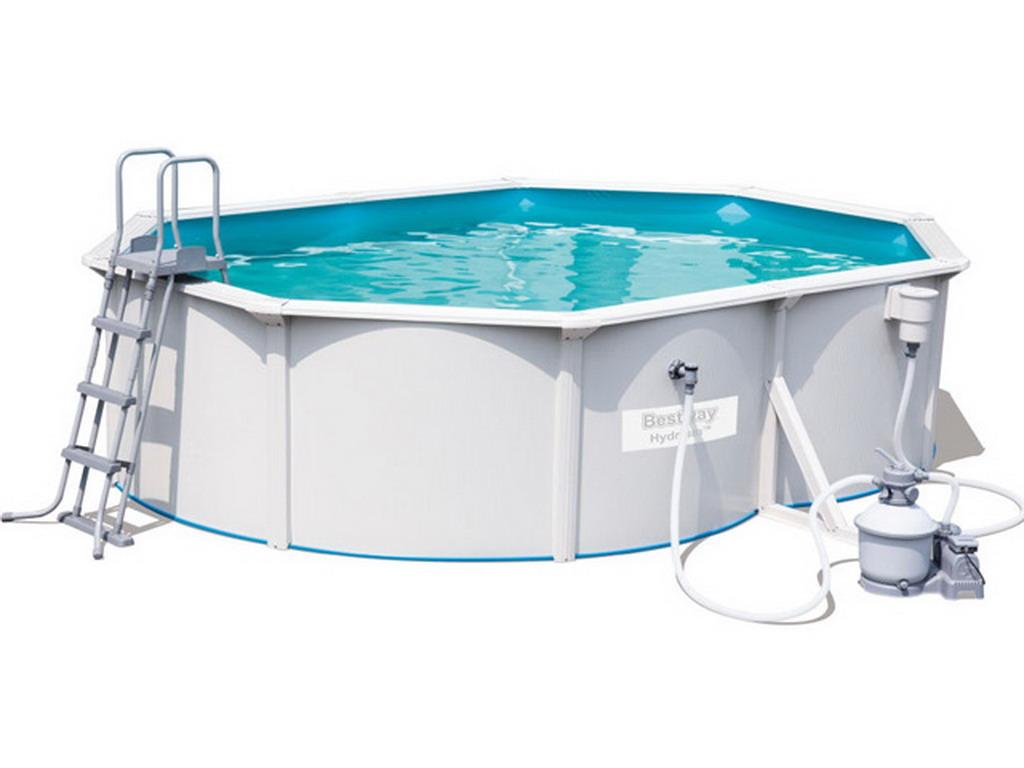 Kit piscine bestway hydrium ovale 488 x 366cm x 122cm filtration sable sur march for Kit filtration piscine a debordement