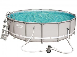Bestway - Kit piscine tubulaire Bestway POWER STEEL FRAME POOL ronde Ø488 x 122cm filtration a cartouche