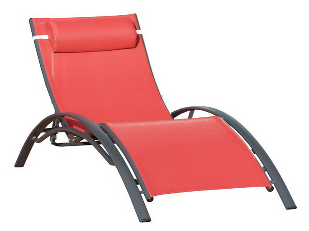 Chaise Longue Multi Positions Aluminium Et Textilne 170cm X 70cm