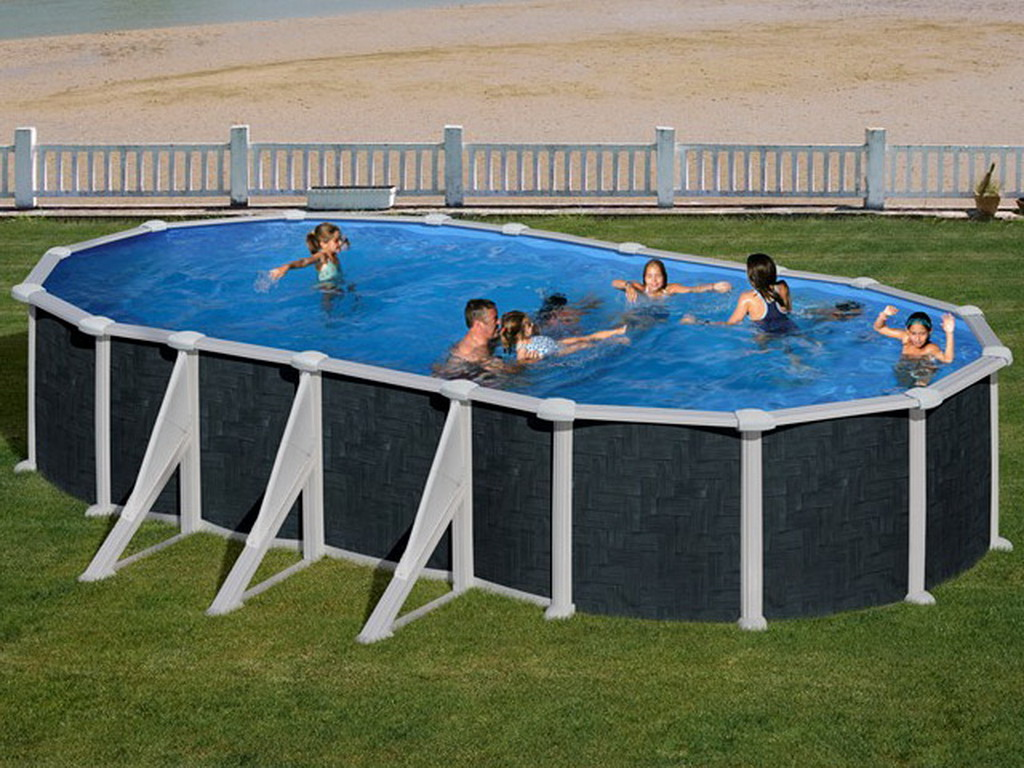 Kit piscine acier gr dreampool rattan ovale x x for Piscine hors sol 9 15 x4 60