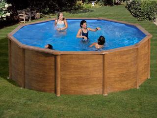 kit piscine hors sol acier gr san marina sicilia ronde x aspect bois sur. Black Bedroom Furniture Sets. Home Design Ideas