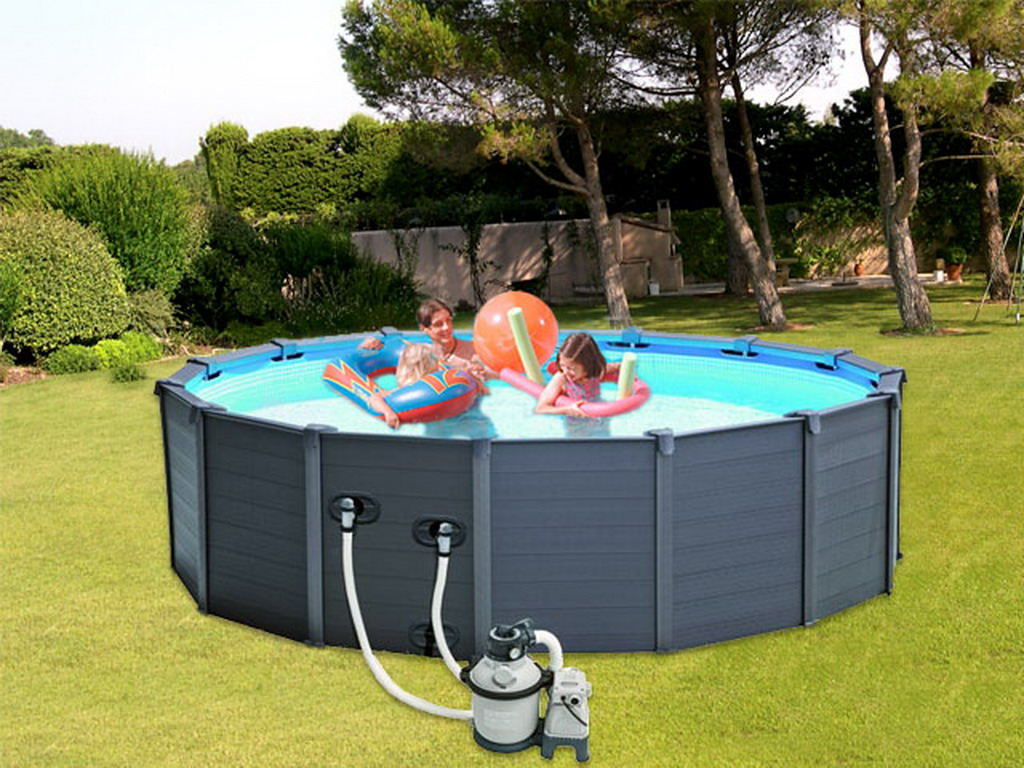Kit piscine hors sol intex graphite ronde 478 x 124cm - Habillage piscine hors sol intex ...