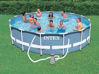 Kit piscine tubulaire intex prism frame ronde 457 x 122cm filtration cartouche sur for Kit filtration piscine a debordement