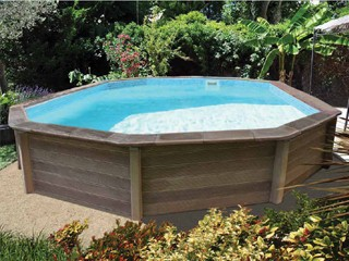 Naturalis - Kit piscine beton NATURALIS decagonale allongee 9,38 x 4,72 x 1,40m aspect bois