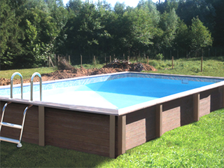 Naturalis - Kit piscine beton NATURALIS rectangulaire 4.67 x 3.24 x 1.40 m aspect bois