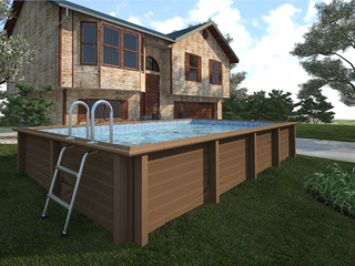 Kit piscine beton NATURALIS rectangulaire 6.09 x 3.24 x 1.40 m aspect bois