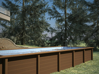 Naturalis - Kit piscine beton NATURALIS rectangulaire 7,50 x 3.24 x 1.30 m aspect bois