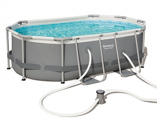 Kit piscine tubulaire Bestway POWER STEEL FRAME POOLS ovale 300x200x84cm filtration cartouche