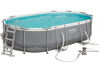 Bestway - Kit complet piscine tubulaire Bestway POWER STEEL FRAME POOLS ovale 488x305x107cm filtration cartouche