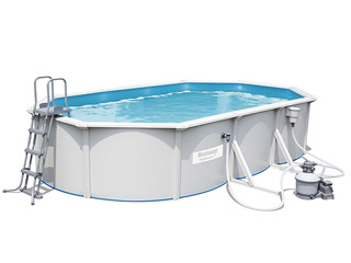 Kit piscine Bestway STEEL WALL POOLS ovale 610 x 360 x 120 cm filtration a sable