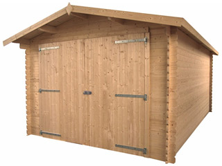 garage de jardin puyravault 17m bois durapin marron sur march. Black Bedroom Furniture Sets. Home Design Ideas