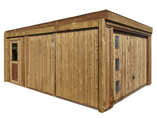 Garage de jardin CARPROTECT 23m² bois marron