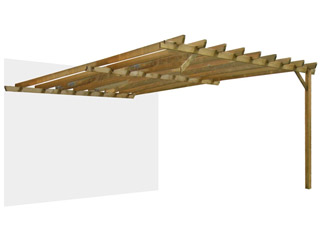 Extension laterale pour pergola bois Durapin JUGO adossee