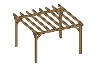 Woodland - Pergola bois HAWAII independante en Douglas marron
