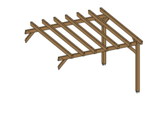 Woodland - Extension pour Pergola bois HAWAII independante en Douglas gris