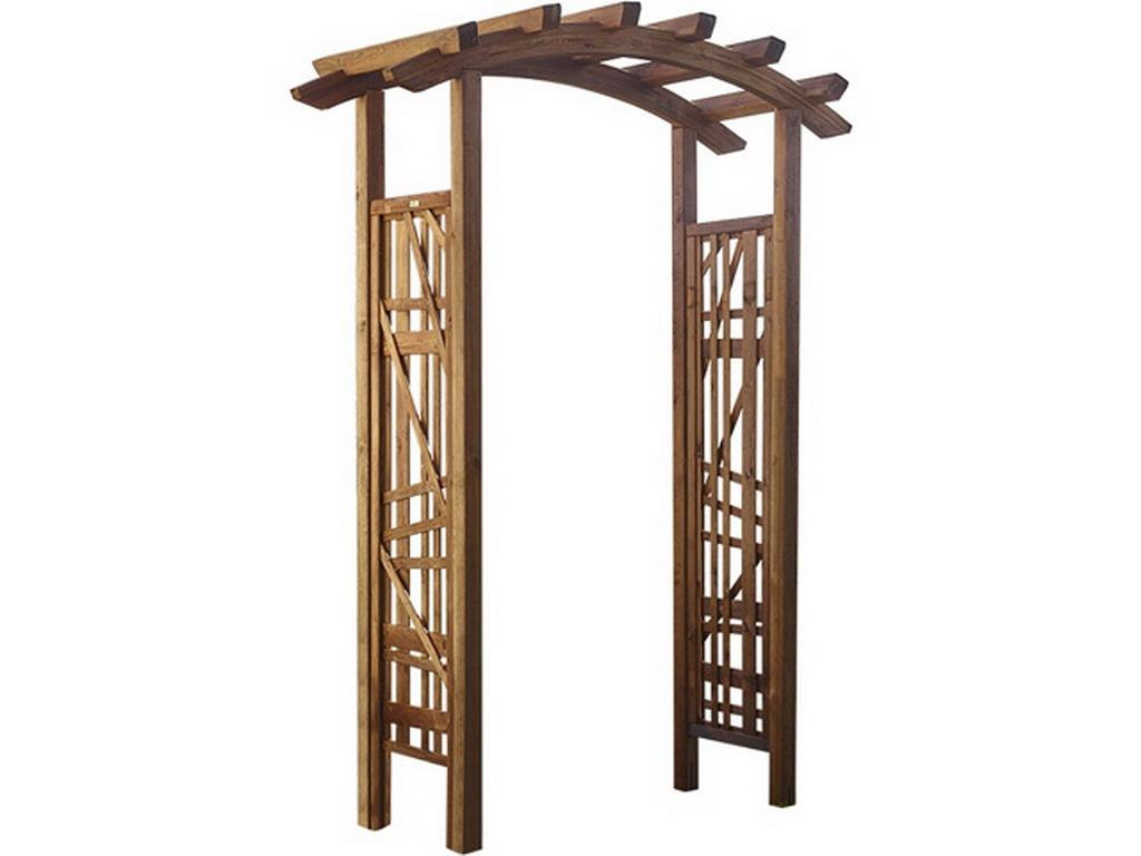 Pergola bois BALI double arc en Pin marron sur MarchédelaPiscine.com