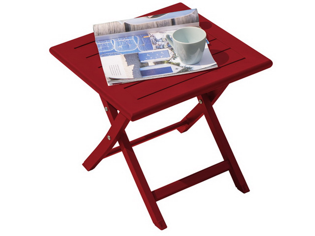 Table basse de jardin pliante MARIUS en aluminium Rouge